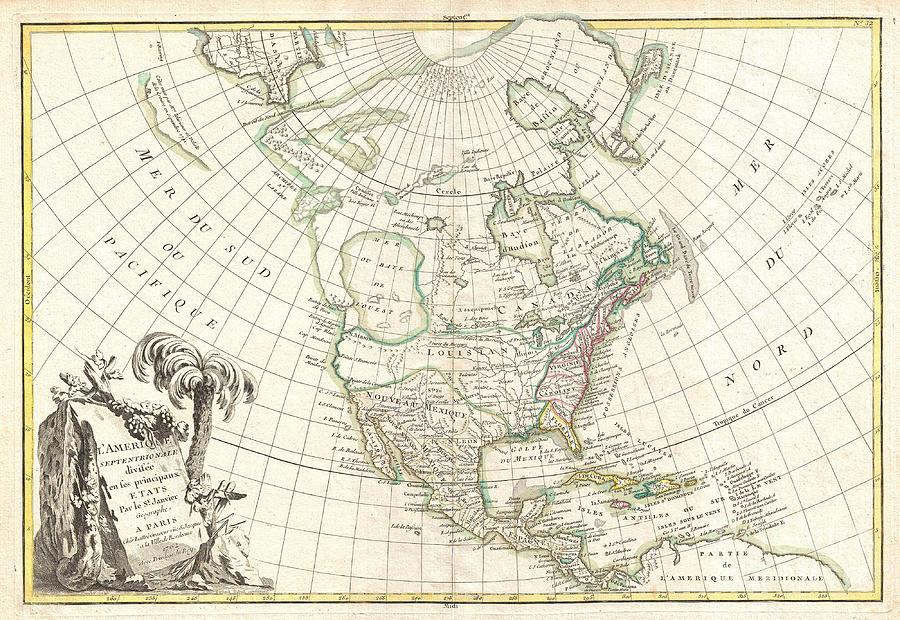 Florida Photograph - 1762 Janvier Map Of North America  by Paul Fearn