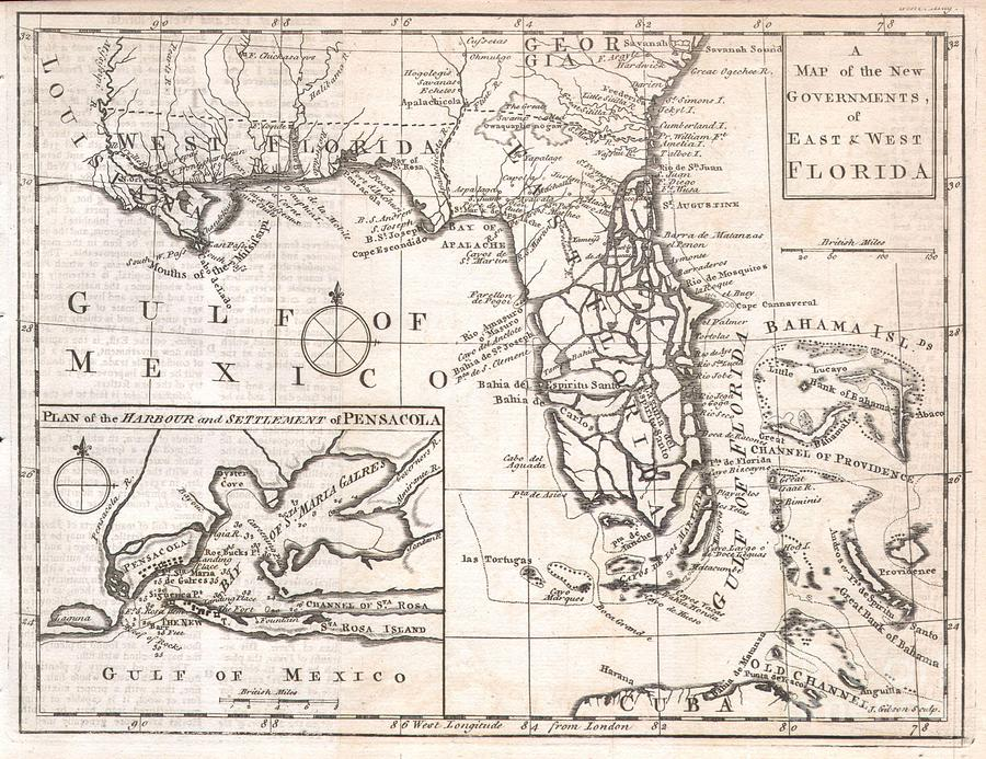 Featured Here Is A Rare And Important Map Of Florida Issued For Gentleman's Magazine In 1763 To Describe The New Territories Of British Florida. The Map Depicts The Provinces Of East And West Florida As They Emerged Following The Treaty Of Paris That Ended The French And Indian War. The Treaty Ceded To The British Control Of Most Of The North America Territory East Of The Mississippi River. The Treaty Included An Agreement With Spain To Exchange Cuba For Florida. The British Quickly Set Up Two New Provinces Divided By The Apalachicola River. West Florida Comprised The Territory Between The Apalachicola River And The Mississippi River. East Florida Included Most Of The Peninsula Of Florida. The Division Was Intended By The British To Reduce Conflicts Between Colonists And The Native Americans Of The Region By Outlawing English Settlement (except For The Coast) West Of The Apalachicola River. The Map Itself Attempts To Depict The Region In Considerable Detail And Includes Political Boundaries Photograph - 1763 Gibson Map Of East And West Florida by Paul Fearn