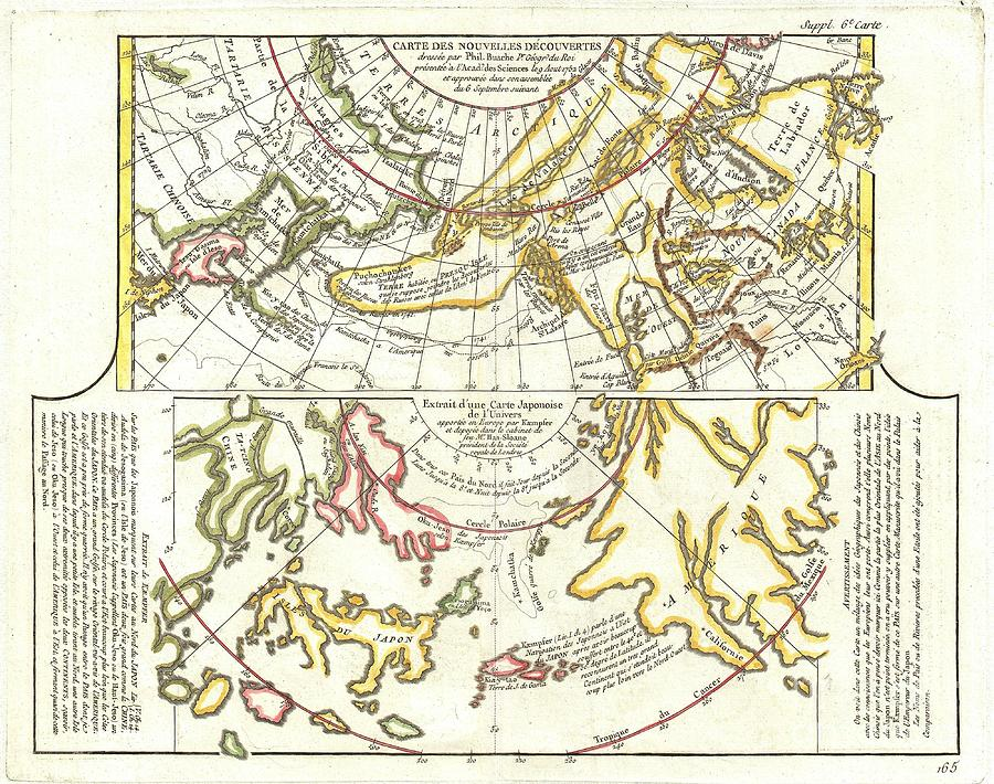 Abstract Photograph - 1772 Vaugondy Diderot Map Of Alaska The Pacific Northwest And The Northwest Passage by Paul Fearn