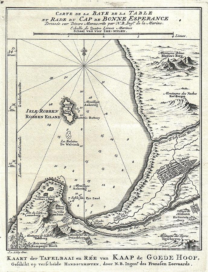 1773 Bellin Map Of The Cape Of Good Hope Capetown South Africa