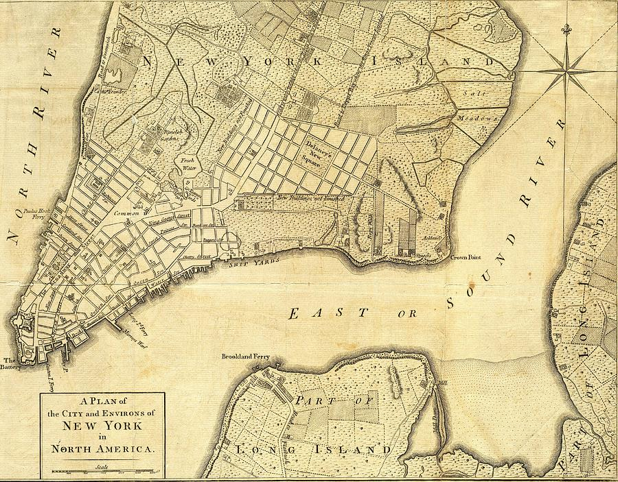 1776 Mixed Media - 1776 New York City Map by Dan Sproul