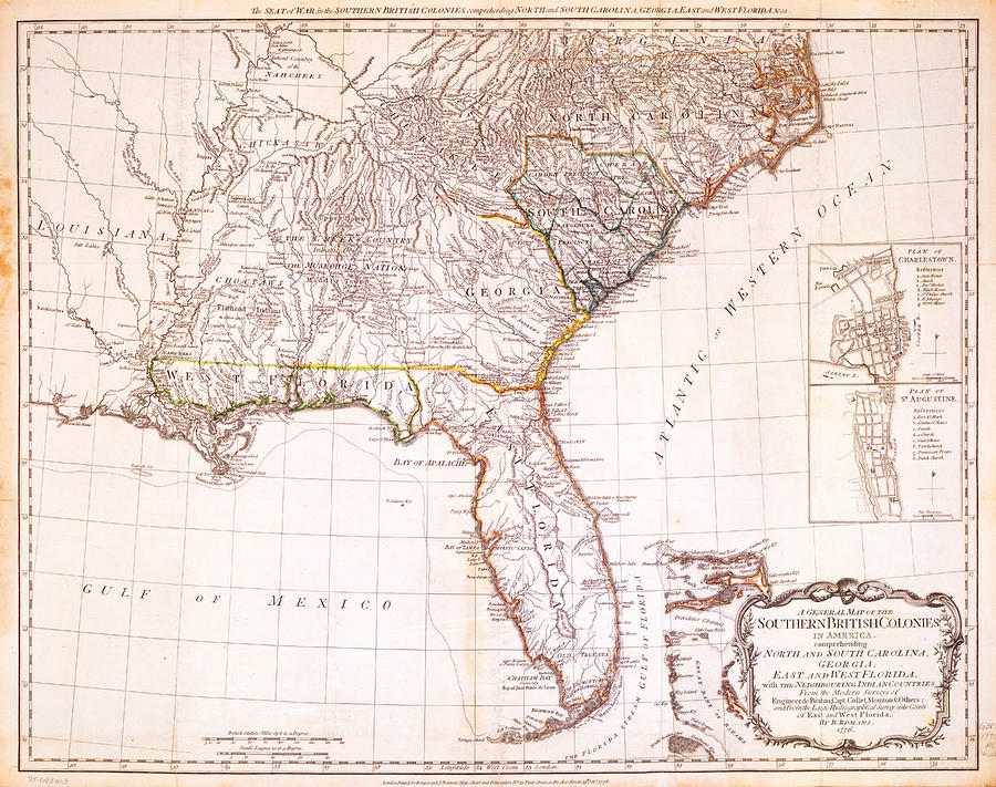 Historic Drawing - 1776 - The Seat Of War In The Southern British Colonies by Kayleigh Green