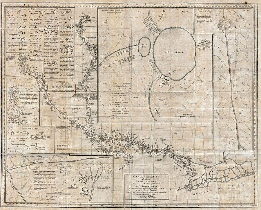 Bodies Of Water Photograph - 1784 Tiefenthaler Map Of The Ganges And Ghaghara Rivers India by Paul Fearn