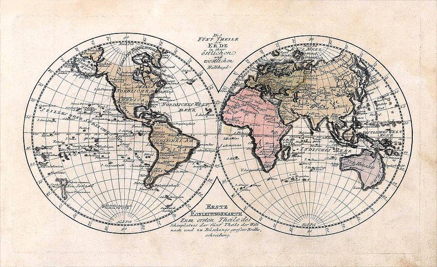 1791 Photograph - 1791 Antique World Map Die Funf Theile Der Erde by Karon Melillo DeVega