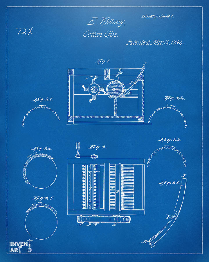 1794 Eli Whitney Cotton Gin Patent Blueprint Digital Art