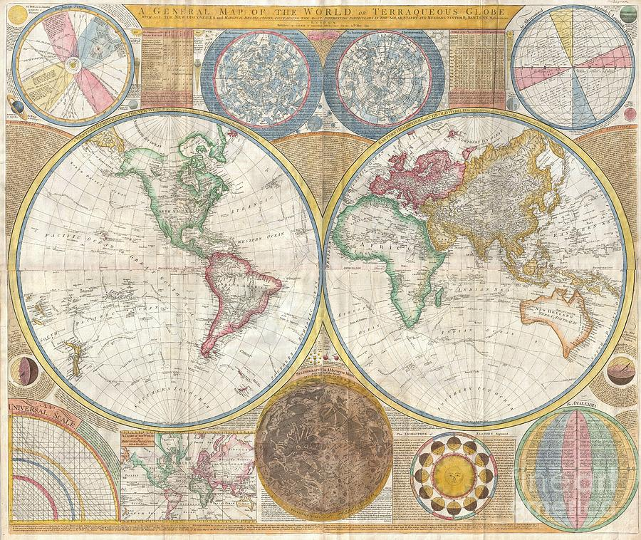 An Absolutely Stunning And Monumental Double Hemisphere Wall Map Of The World By Samuel Dunn Dating To 1794. This Extraordinary Map Is So Large And So Rich In Detail That It Is Exceptionally Challenging To Do It Full Justice In Either Photographic Or Textual Descriptions. Covers The Entire World In A Double Hemisphere Projection. The Primary Map Is Surrounded On All Sides But Detailed Scientific Calculations And Descriptions As Well As Northern And Southern Hemisphere Star Charts Photograph - 1794 Samuel Dunn Wall Map Of The World In Hemispheres by Paul Fearn