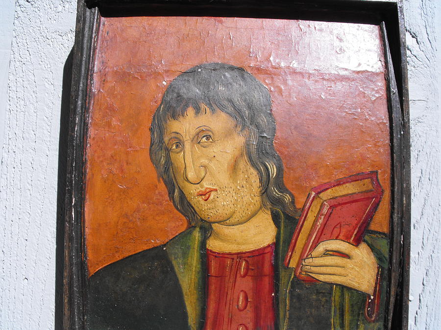 Priest Painting - 17th. Century Catalan Painting On Heavy Wood Board by Anonymous Catalan artist