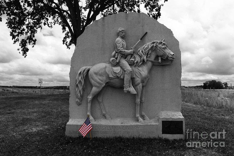 Gettysburg Photograph - 17th Pennsylvania Cavalry Monument Gettysburg by James Brunker