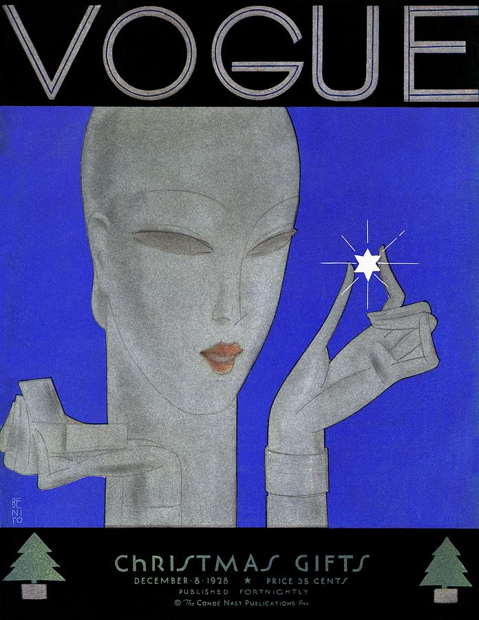A Vintage Vogue Magazine Cover Of A Woman Painting by Eduardo Garcia Benito