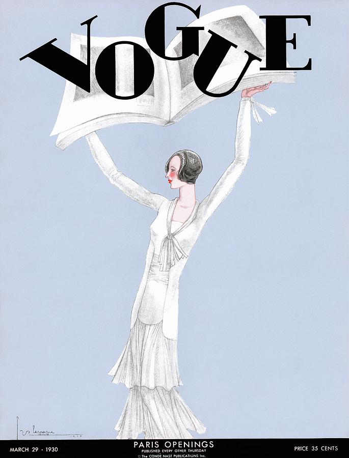 A Vintage Vogue Magazine Cover Of A Woman Photograph by Georges Lepape