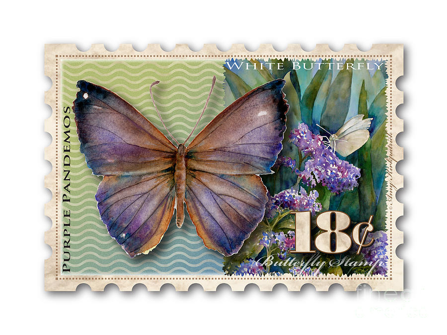18 Cent Butterfly Stamp Painting