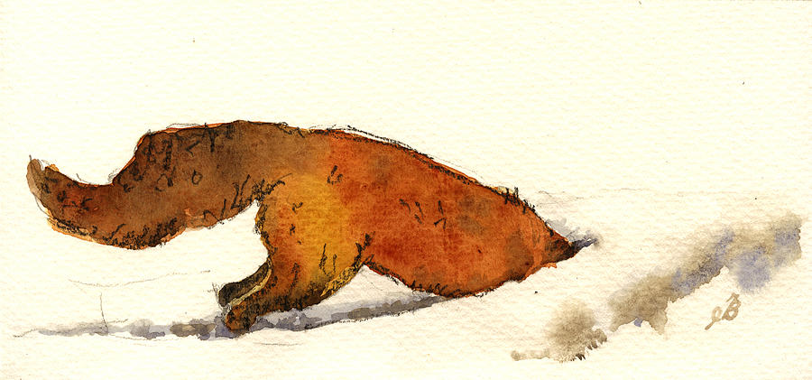 Red Painting - Red Fox by Juan  Bosco