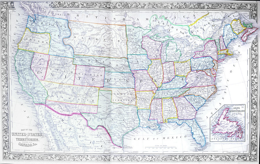 1800s 1860s 1867 Map Of United States Painting By Vintage Images - Us-map-1800s