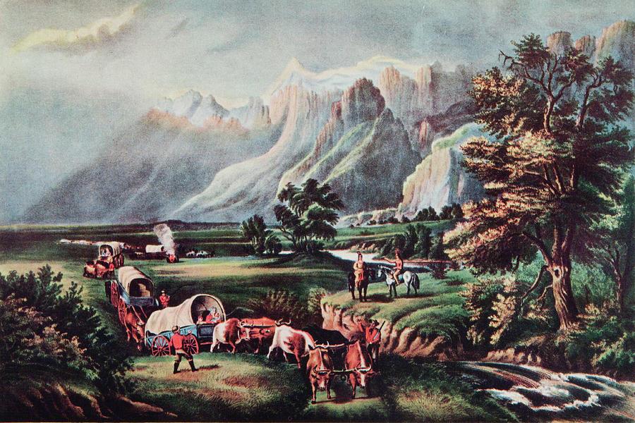 Art print POSTER// CANVAS  Wagon Train on Great Plains