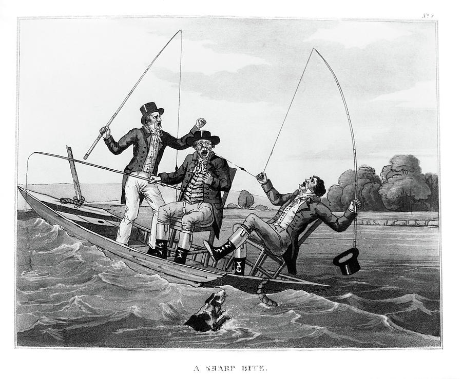 Horizontal Painting - 1800s Three 19th Century Men In Boat by Vintage Images