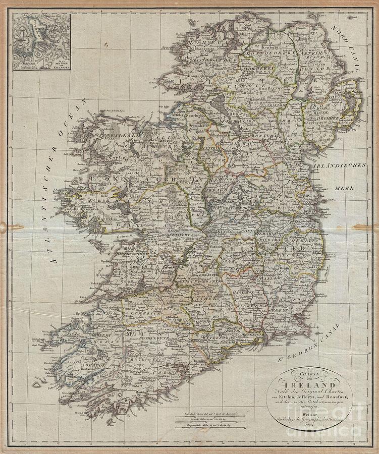 Thomas Jefferys Photograph - 1804 Jeffreys And Kitchin Map Of Ireland by Paul Fearn