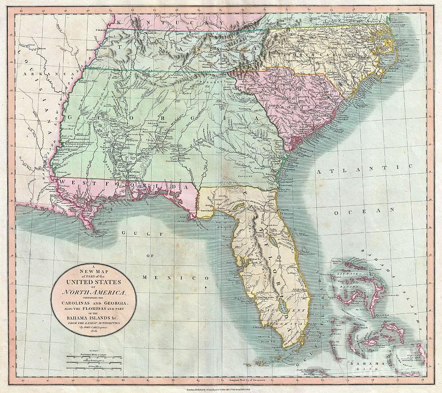 1806 Cary Map Of Florida Georgia North Carolina South Carolina And