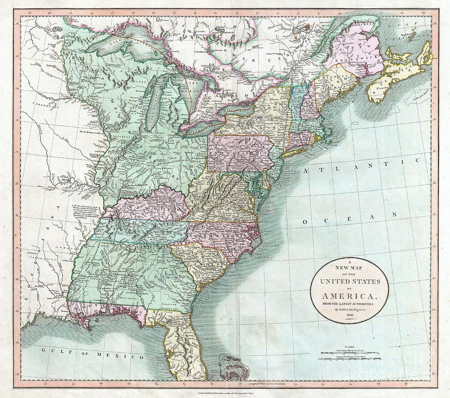 1806 Cary Map Of The United States East Of The Mississippi River