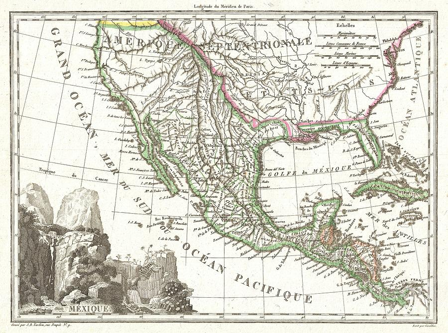 abstract photograph 1810 tardieu map of mexico texas and california by paul fearn