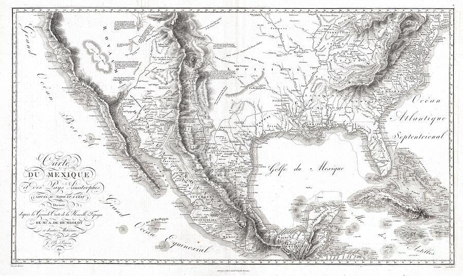 Texas Photograph - 1811 Humboldt Map Of Mexico Texas Louisiana And Florida by Paul Fearn