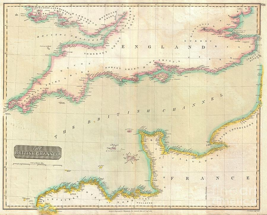 1814 Thomson Map Of The English Channel Photograph by Paul Fearn