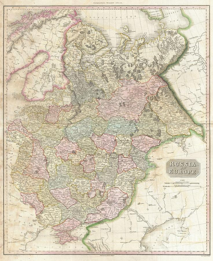 1818 Pinkerton Map Of Russia In Europe