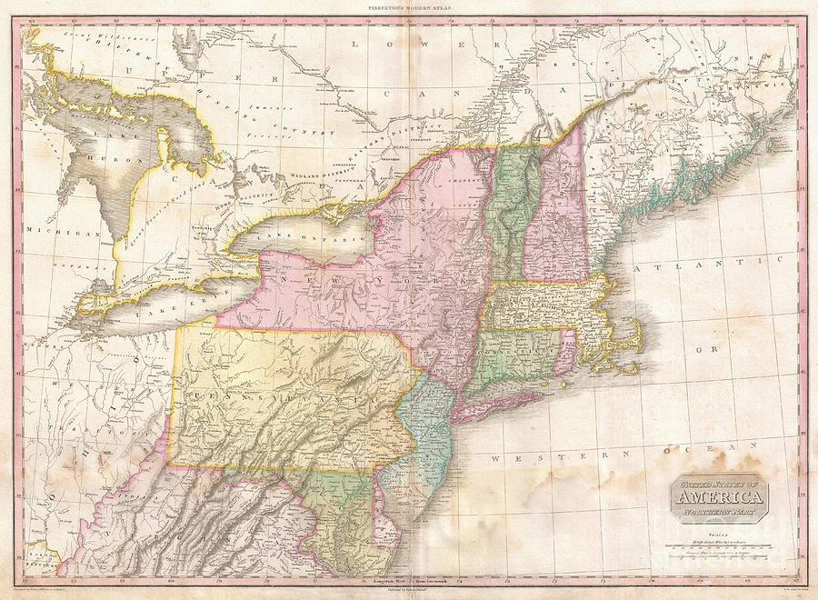 1818 Pinkerton Map Of The Northern United States