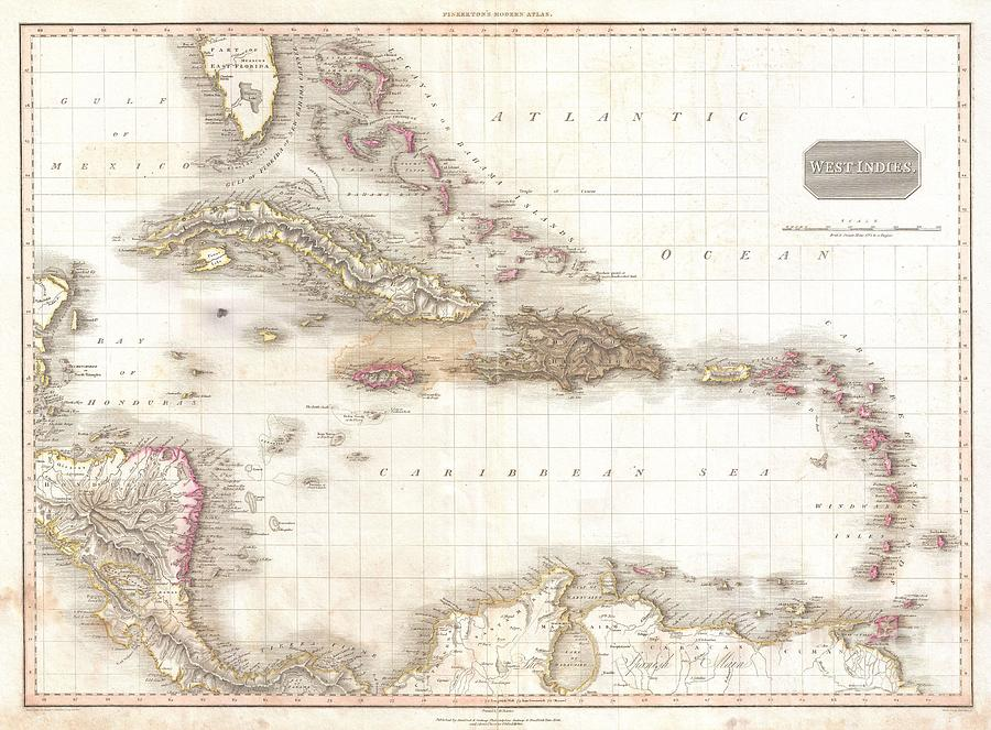 1818 Pinkerton Map Of The West Indies Antilles And Caribbean Sea