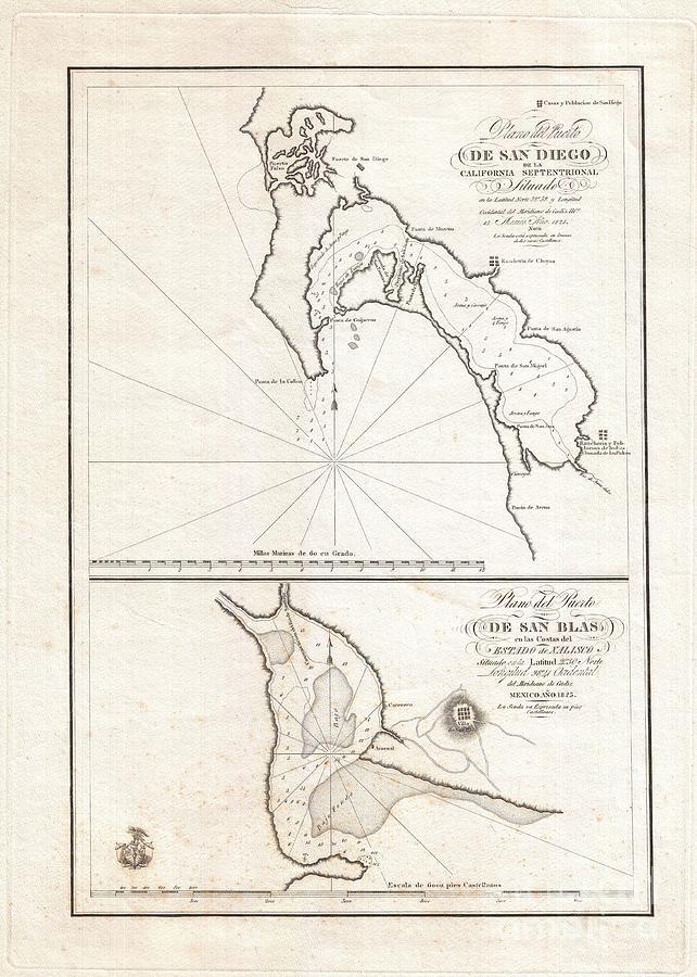 California Photograph - 1825 Victoria Map Of San Diego California And San Blas Mexico  by Paul Fearn