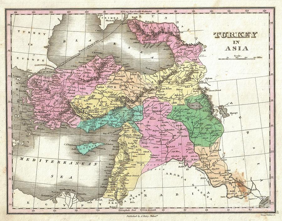 Georgia Photograph - 1827 Finley Map Of Turkey In Asia Iraq And Israel by Paul Fearn