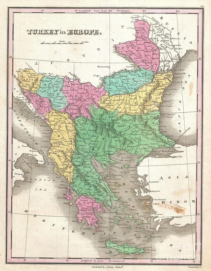 Greece Photograph - 1827 Finley Map Of Turkey In Europe Greece And The Balkans by Paul Fearn
