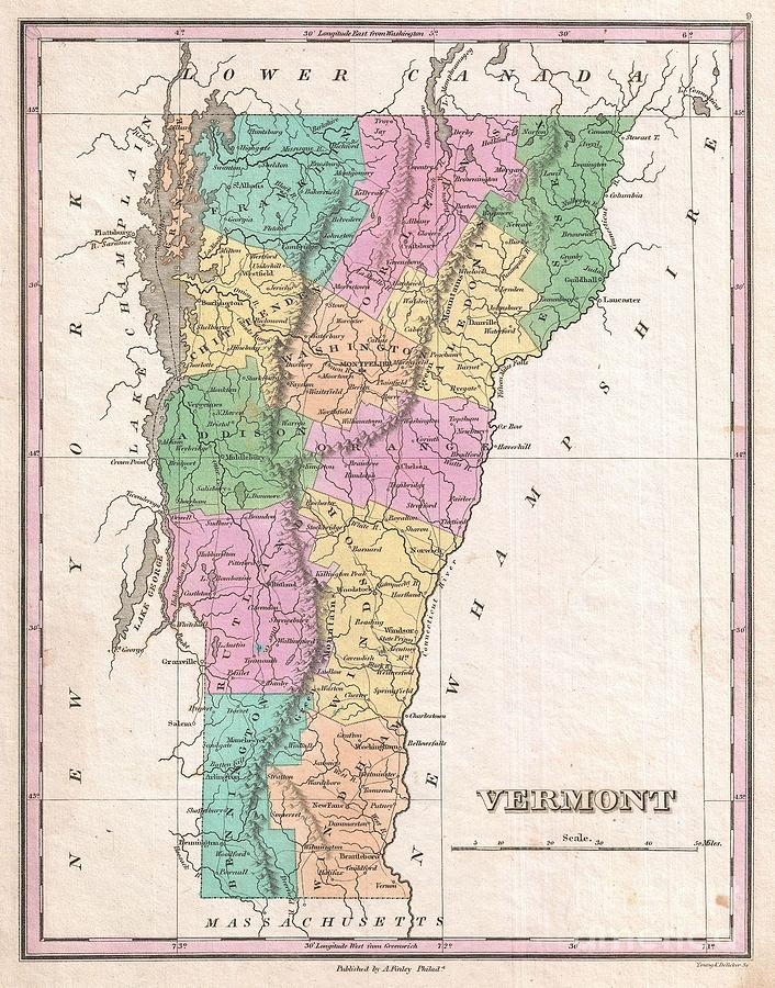 Roads Photograph - 1827 Finley Map Of Vermont by Paul Fearn