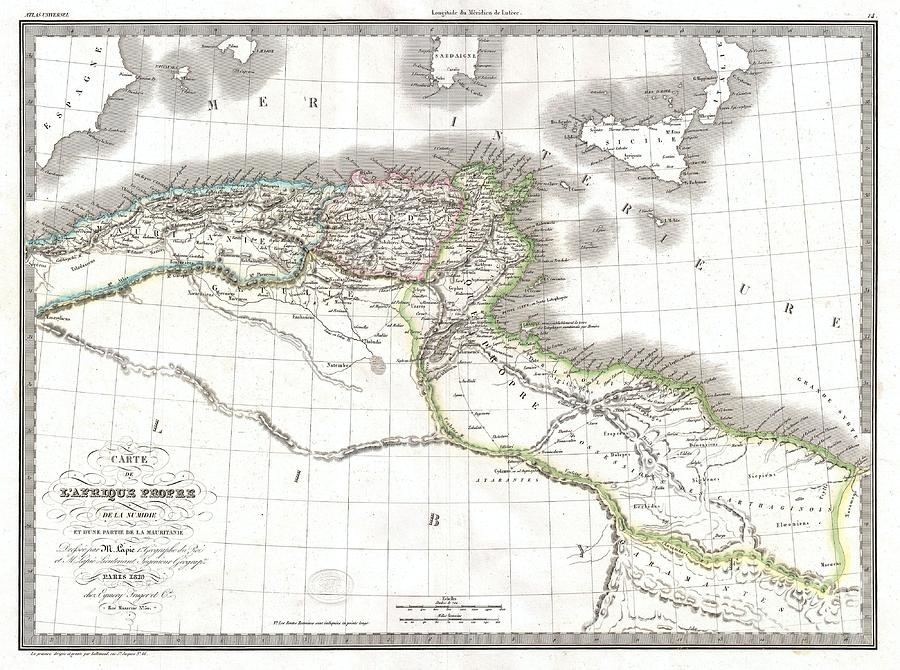 Carthage Photograph - 1829 Lapie Historical Map Of Empire Of Carthage by Paul Fearn
