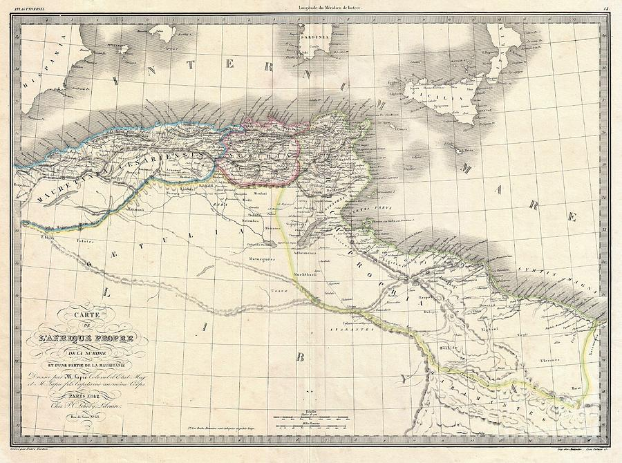 Carthage Photograph - 1829 Lapie Historical Map Of The Barbary Coast In Ancient Roman Times by Paul Fearn