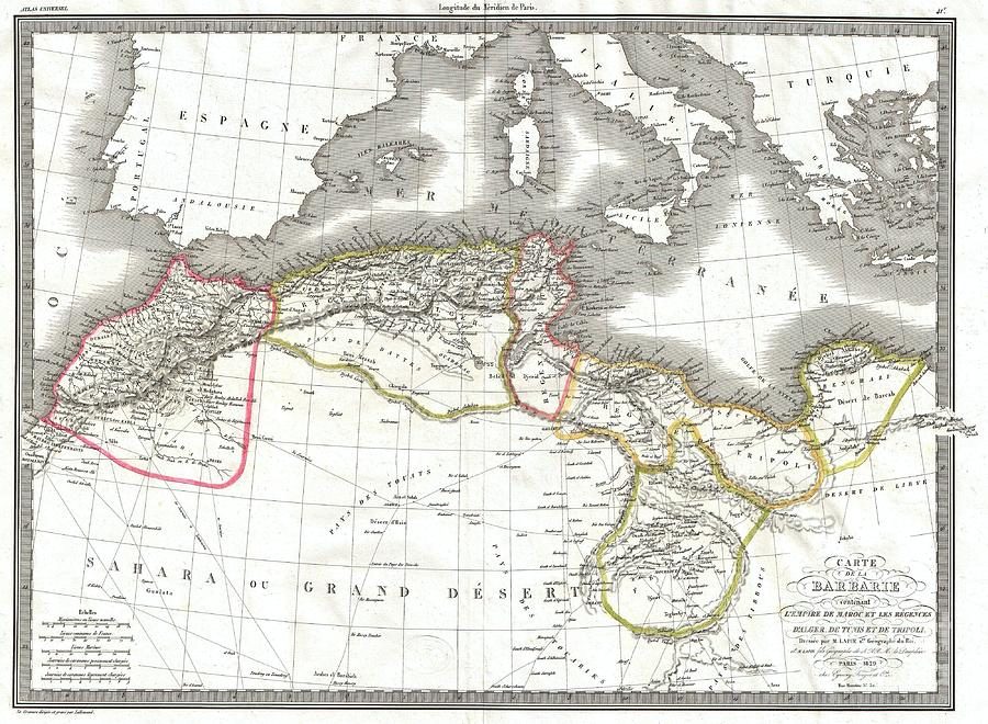 Topographical Features Photograph - 1829 Lapie Map Of The Eastern Mediterranean Morocco And The Barbary Coast by Paul Fearn