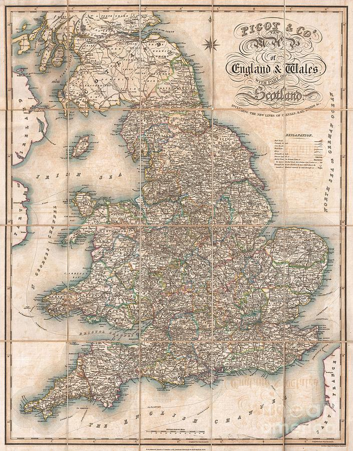 Wales Photograph - 1830 Pigot Pocket Map Of England And Wales by Paul Fearn