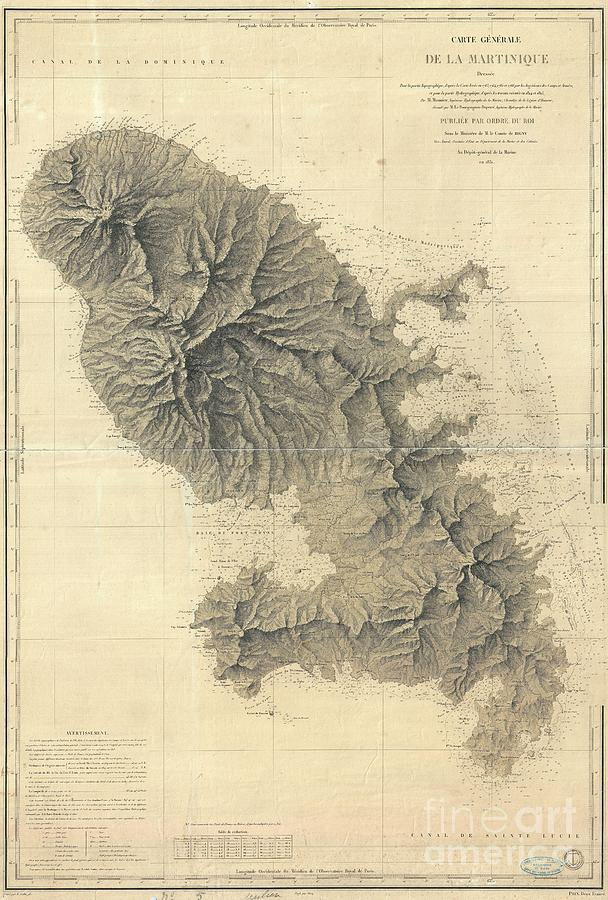 Abstract Photograph - 1831 Depot De La Marine Nautical Chart Or Map Of Martinique West Indies by Paul Fearn