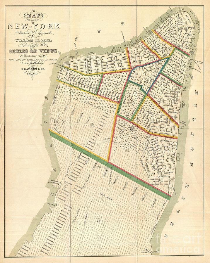 Docks Photograph - 1831 Hooker Map Of New York City by Paul Fearn