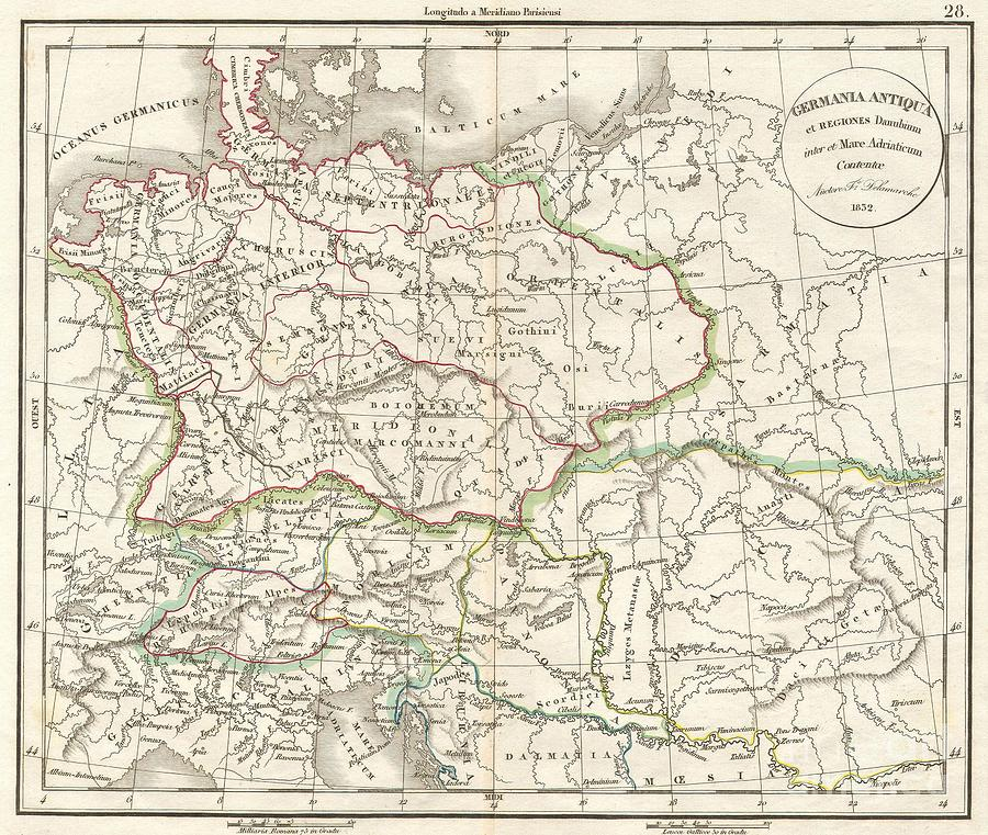 Abstract Photograph - 1832 Delamarche Map Of Germany In Roman Times by Paul Fearn
