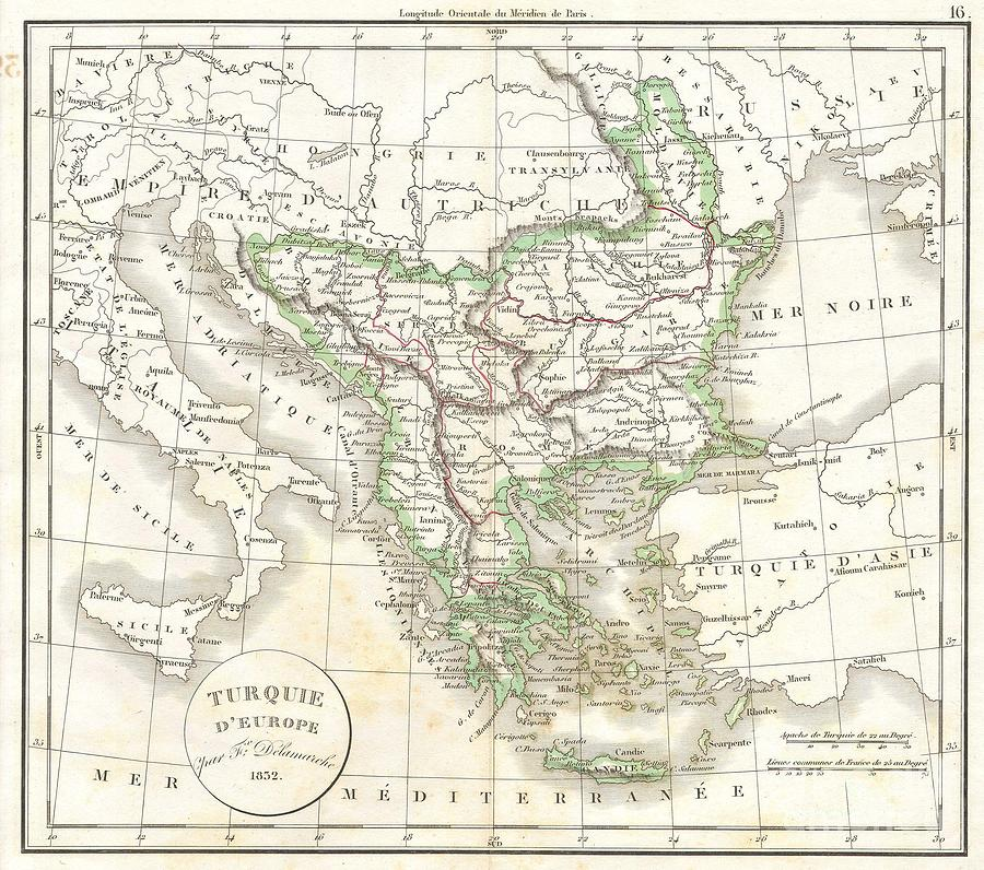 Abstract Photograph - 1832 Delamarche Map Of Greece And The Balkans by Paul Fearn