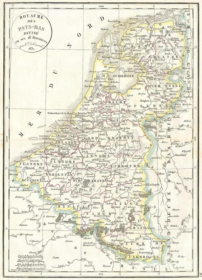 Abstract Photograph - 1832 Delamarche Map Of Holland And Belgium by Paul Fearn
