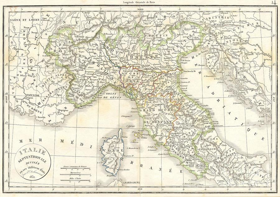 Abstract Photograph - 1832 Delamarche Map Of Northern Italy And Corsica by Paul Fearn