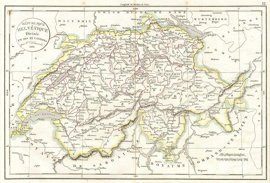 Abstract Photograph - 1832 Delamarche Map Of Switzerland by Paul Fearn