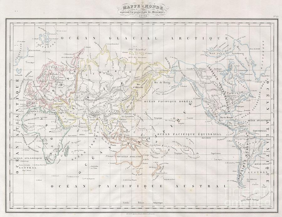 Abstract Photograph - 1832 Malte Brun Map Of The World On Mercator Projection by Paul Fearn