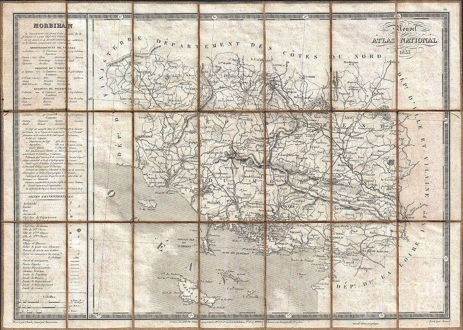 Politicians Photograph - 1833 Charle Map Of The Dept Of Morbihan Bretagne France by Paul Fearn