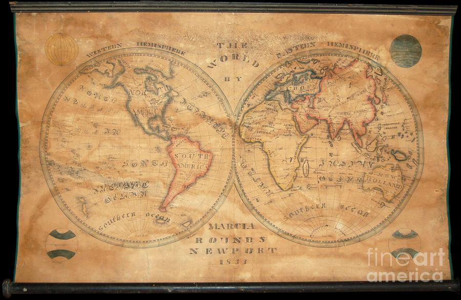 Latitude Photograph - 1833 School Girl Manuscript Wall Map Of The World On Hemisphere Projection  by Paul Fearn