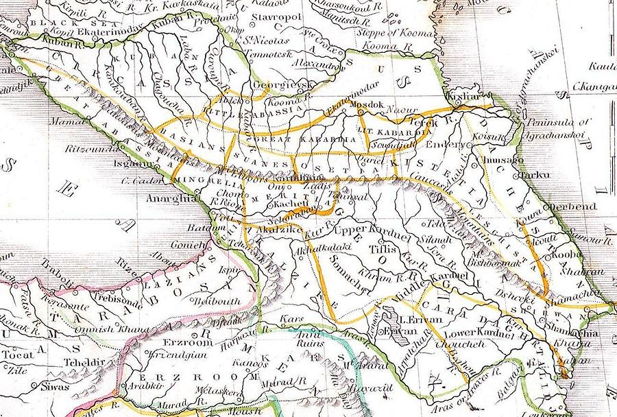 The Black Sea Photograph - 1835 Bradford Map Of Turkey In Asia And The Caucases by Paul Fearn
