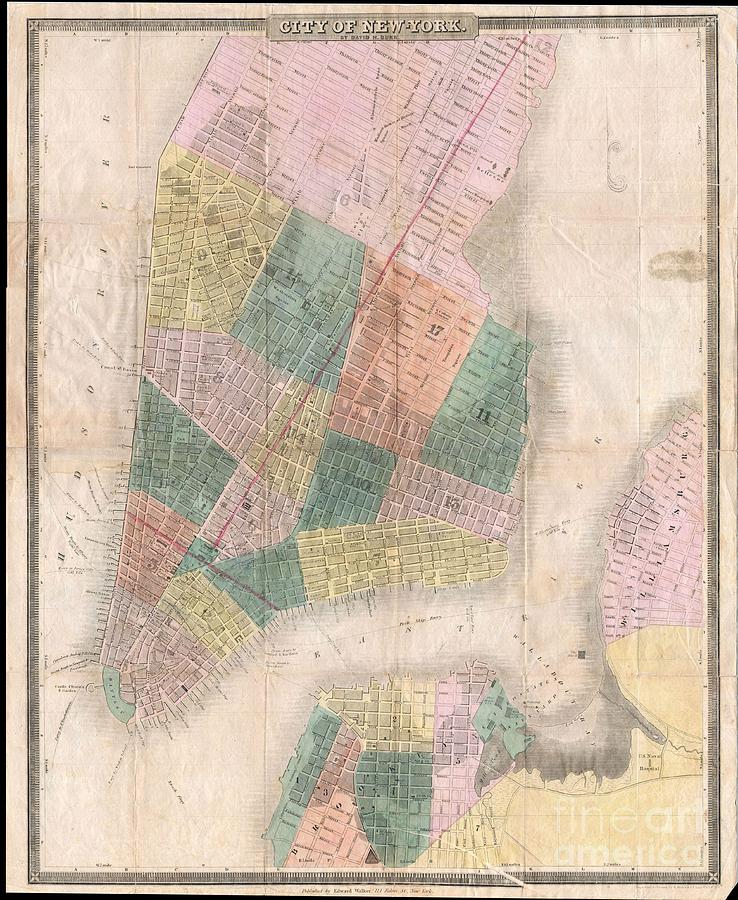 Theaters Photograph - 1835 David Burr Map Of New York City by Paul Fearn
