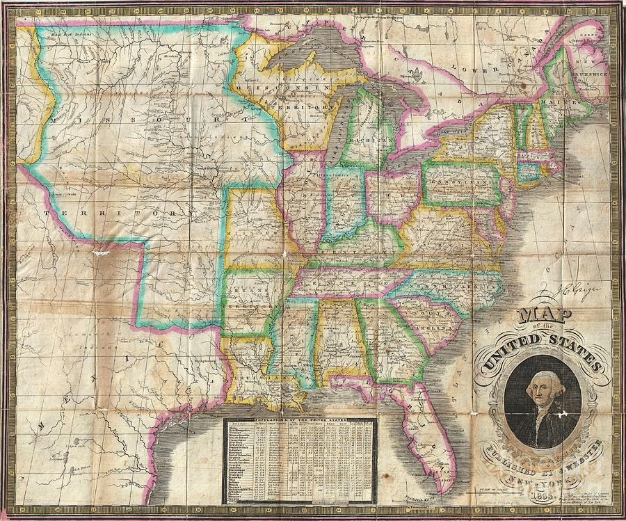 Abstract Photograph - 1835 Webster Map Of The United States by Paul Fearn