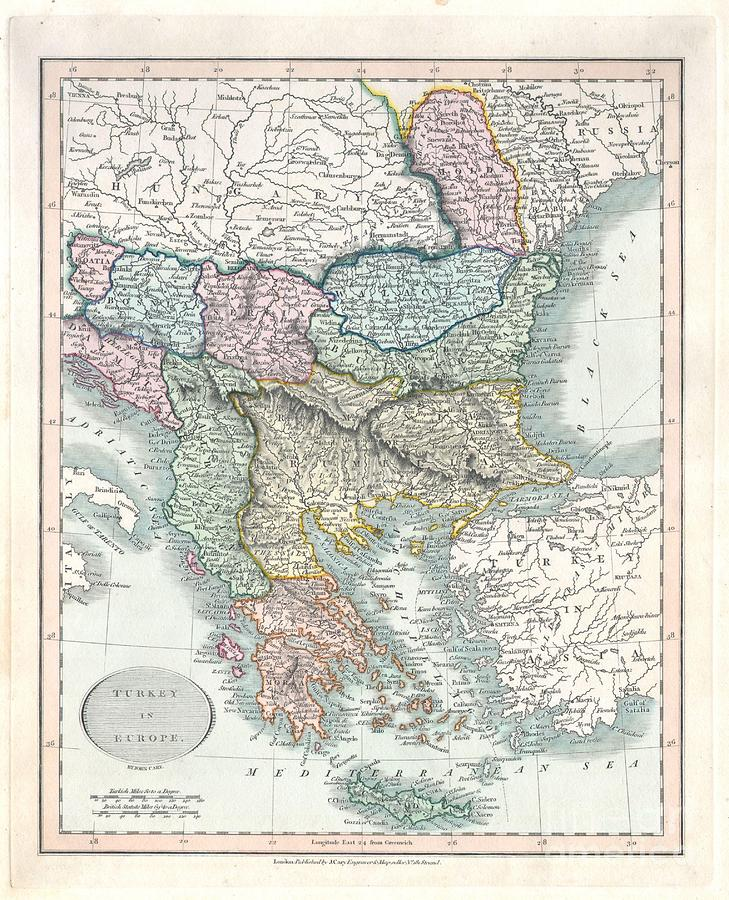 Albania Photograph - 1836 Cary Map Of Greece And The Balkans by Paul Fearn